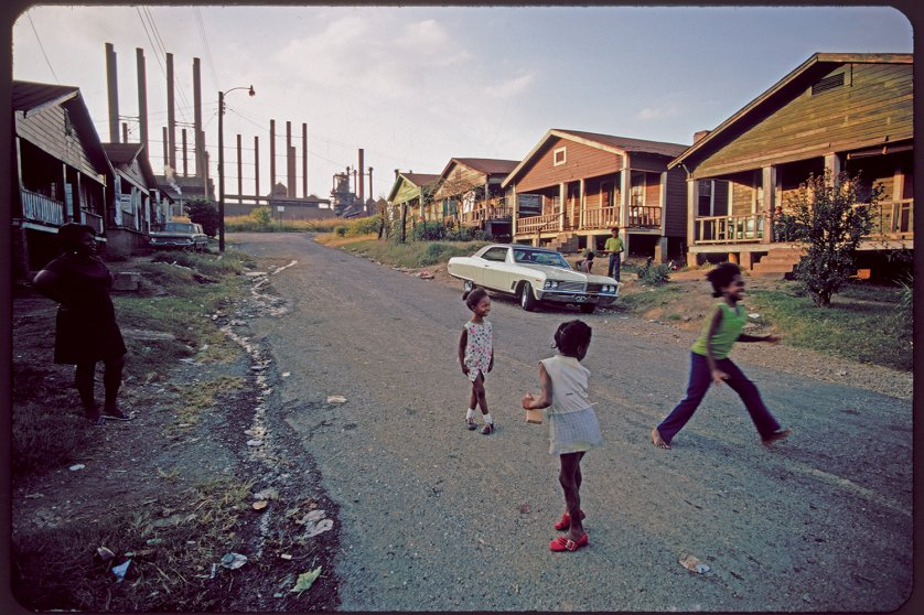 Housing adjacent to U.S. Steel plant, Birmingham, Alabama, 1972.