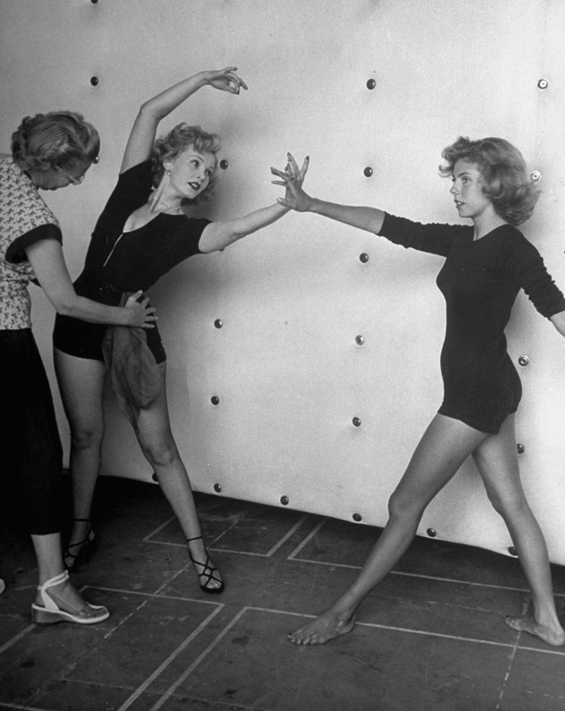 <b>Caption from LIFE.</b> For her film role in <i>Lovely to Look At</i>, Zsa Zsa takes lesson at M-G-M studio with Betsy von Furstenberg (right), also a LIFE cover girl (Jan. 29, 1951). Betsy is engaged to Nicky Hilton, son of Zsa Zsa's second husband.