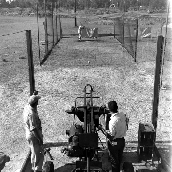 Batting practice in the cage, Dodgertown, Fla., 1948.