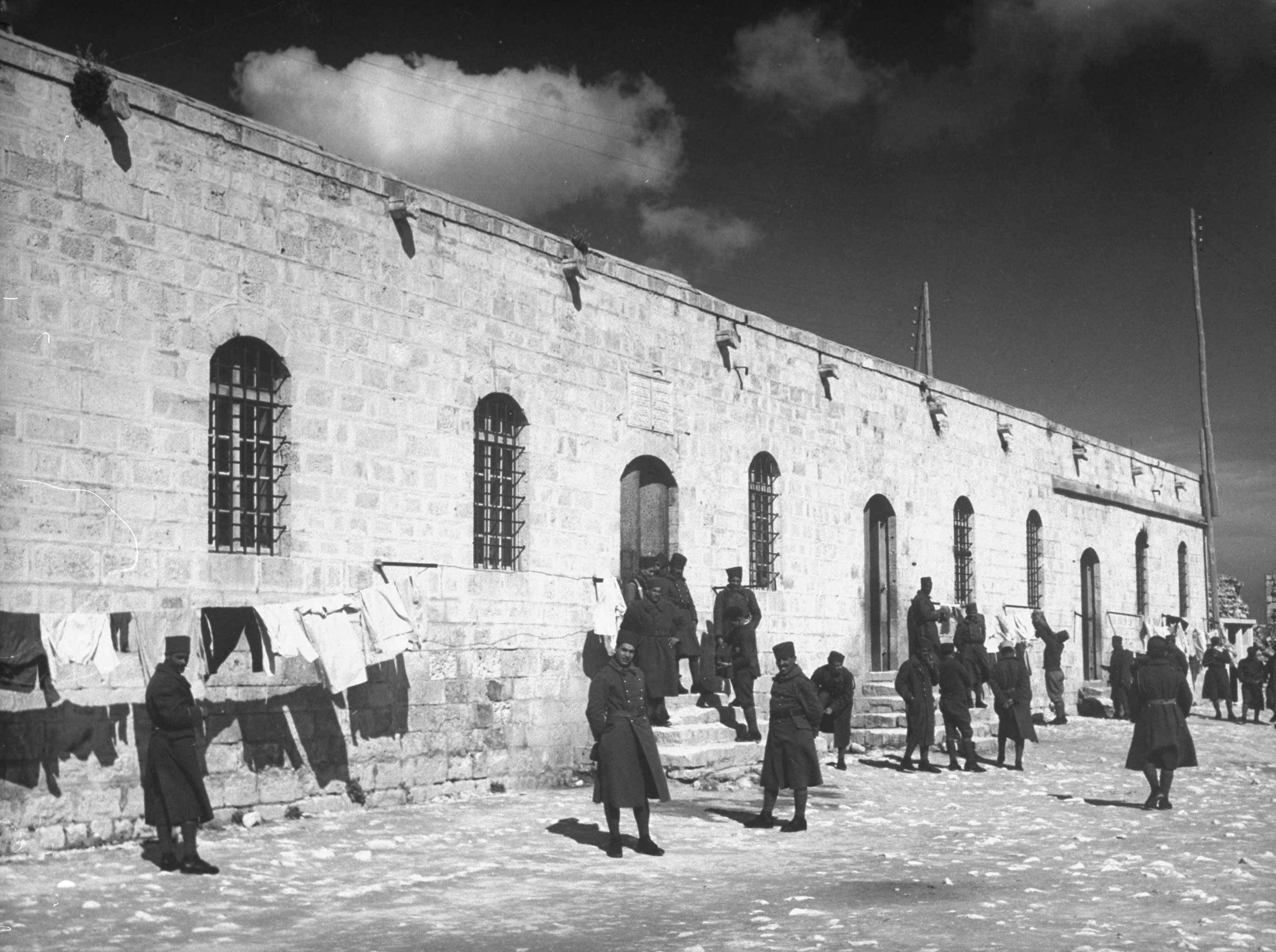 Inside the garrison of the French expeditionary force in the great citadel at Aleppo, Syria, 1940.