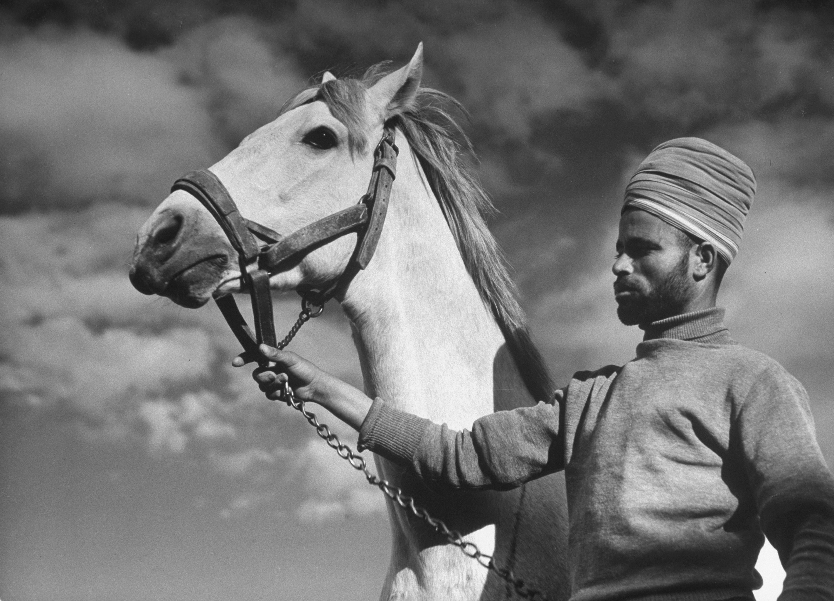 A Moroccan soldier of the French expeditionary force holds an officer's Arabian horse inside the great citadel at Aleppo, 1940.
