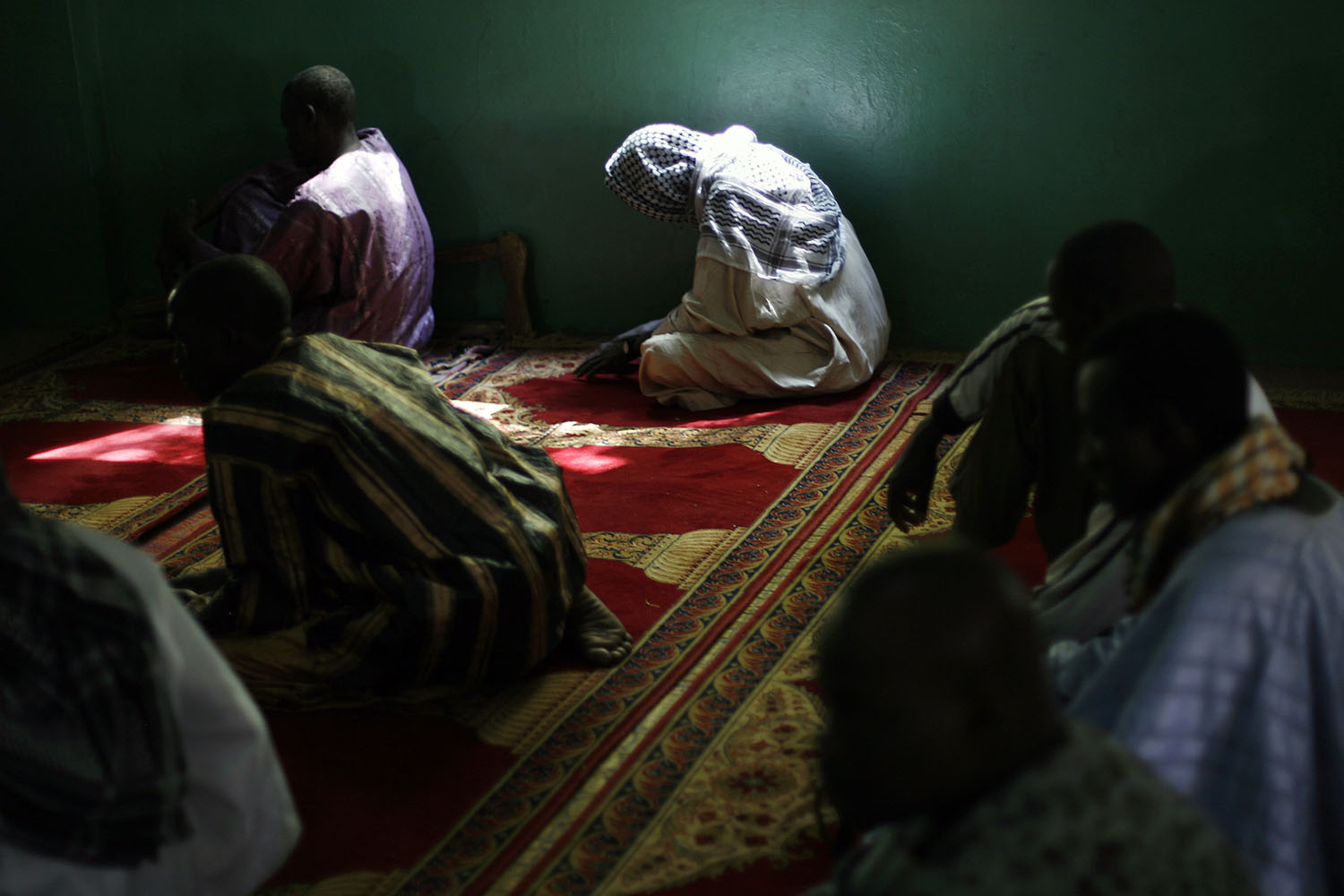 Worshipers pray in the mosque in Banamba.