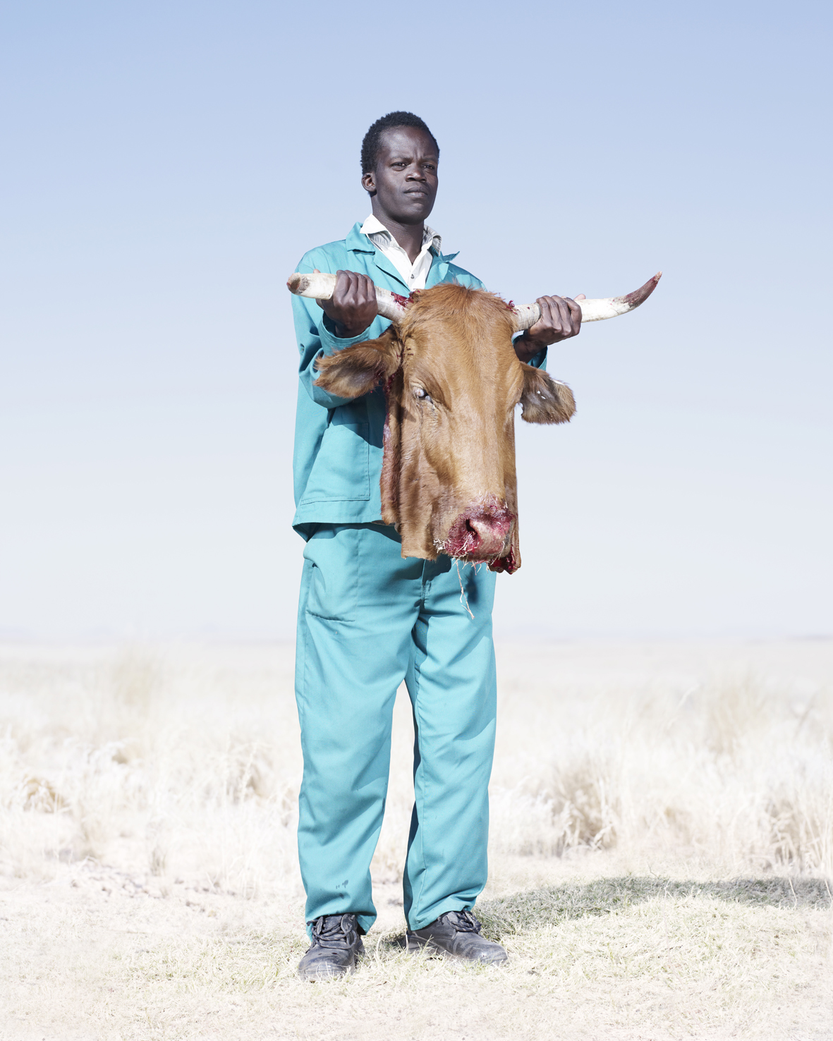 A Herero man holds the head of a freshly butchered cow, killed to supply meat for a funeral.