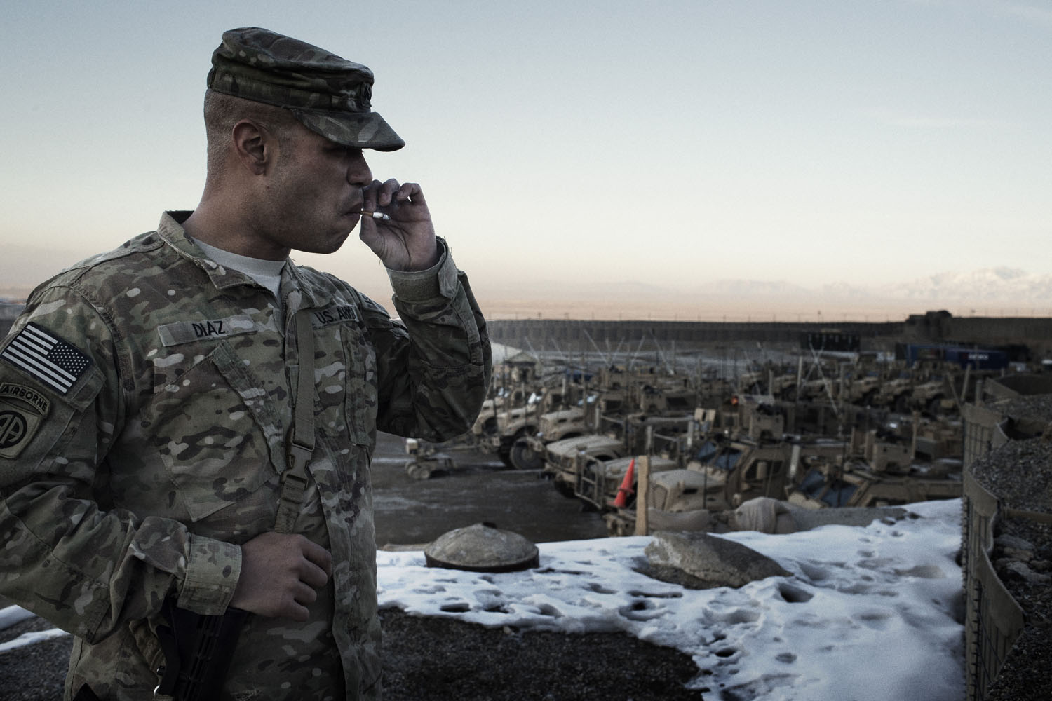 Sgt. Mario Diaz, 32, a communications specialist from Ridgeland, Miss.,  at Forward Operating Base Altimur, Logar Province, Afghanistan. Sgt. Diaz, who recently completed his third tour in Afghanistan, previously served at Altimur in 2009.