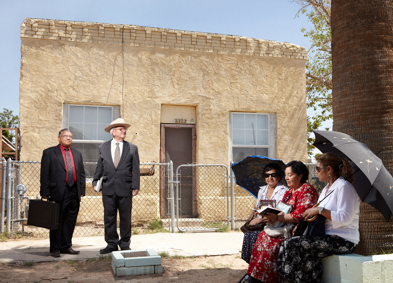 A group of Jehovah's Witnesses in the Chamizal neighborhood. Even during the height of the violence in Juarez, Jehovah's Witnesses went door to door across the border every day; some were killed in the line of duty.