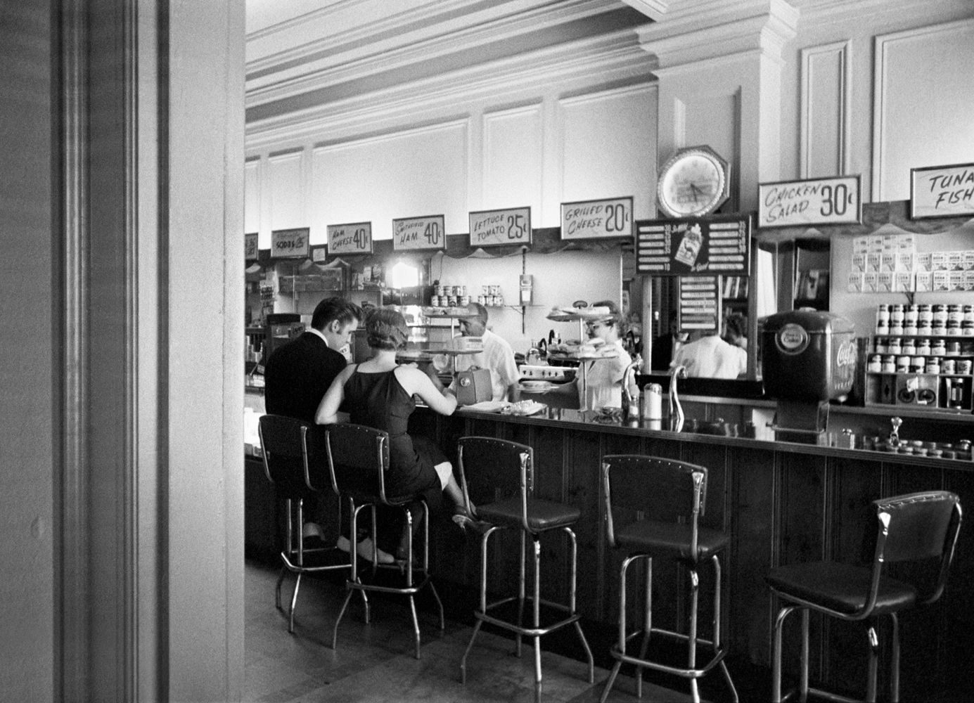 June 30, 1956. Coffee shop at the Jefferson Hotel, Richmond, Virginia. My most popular picture… the New York Times wouldn't put the kiss on their website, but I have sold more of these (titled Grilled Cheese 20 cents) than all my others combined.