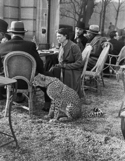 Woman sitting with her pet cheetah having tea at a Bois de Boulogne cafe, Paris, 1963.