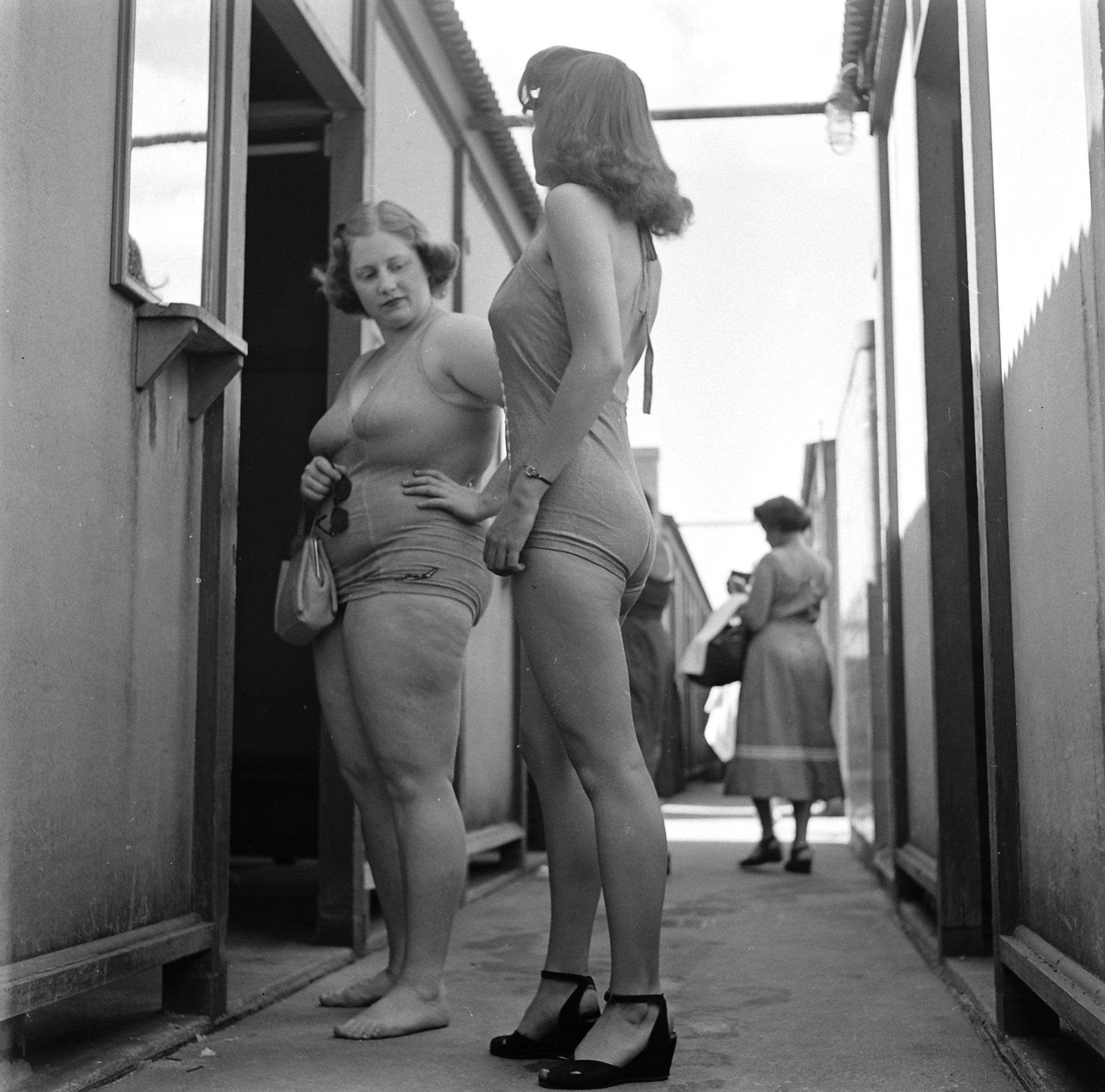 Dorothy Bradley (left), photographed for LIFE magazine article on obesity, 1949.