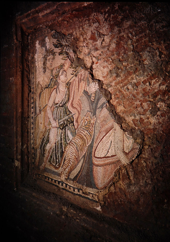 The hunt of the Amazons is portrayed on a polychrome mosaic decorating the facade of the tomb of the Marci.