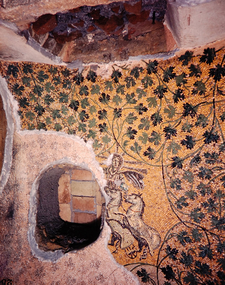 An early Christian mosaic, possibly the earliest known, decorates the ceiling and walls of a mausoleum close to area where St. Peter is supposed to have been buried, Rome, 1950.