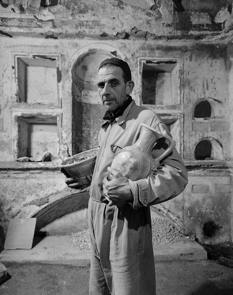 Foreman of work crew, photographed during the excavation beneath St. Peter's in Rome, 1950.