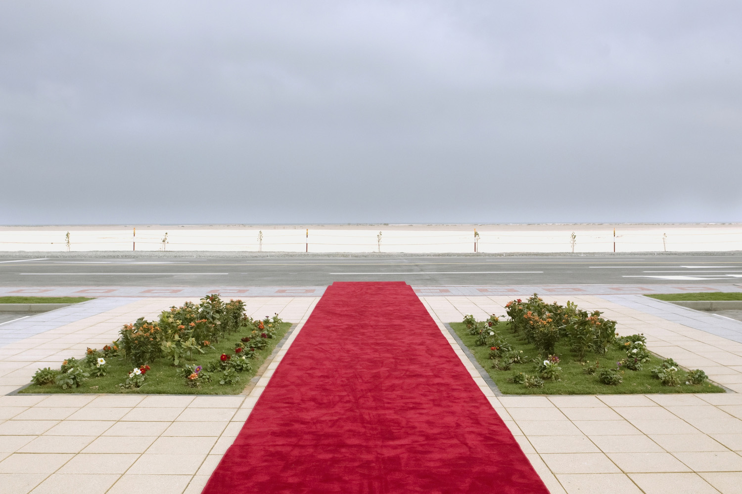 A red carpet prior to the arrival of VIPs at a groundbreaking ceremony at the proposed Nuclear Plant in Braka in the Western Region of Abu Dhabi.