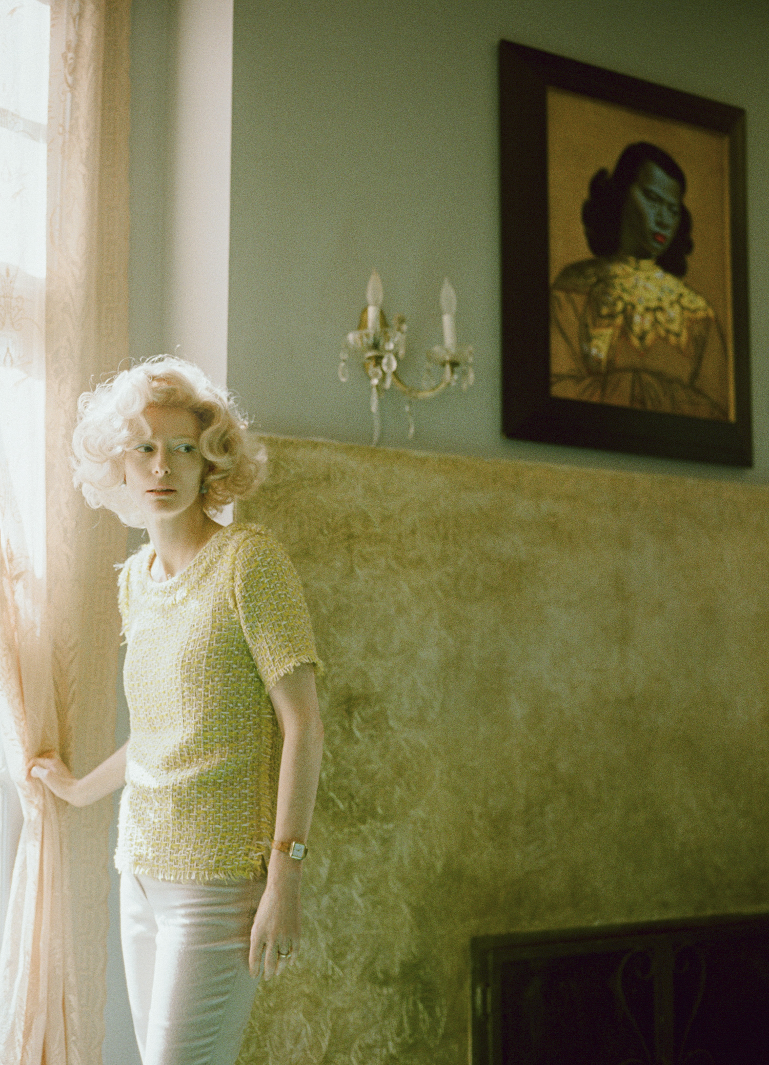 A photo taken by Director Floria Sigismondi on set of The Stars (Are Out Tonight), featuring Tilda Swinton
