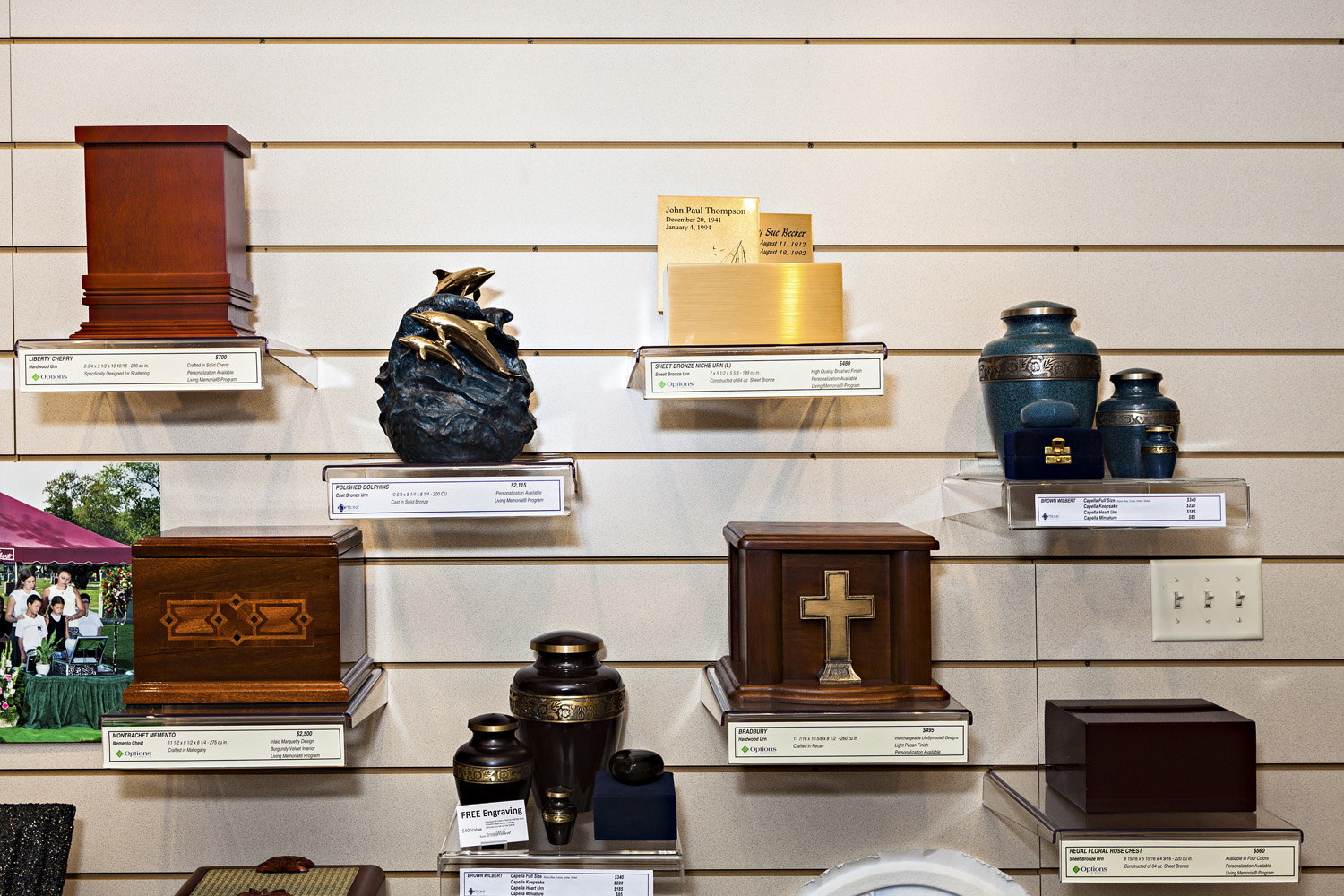 A variety of urns appear on sale at Bradshaw Crematory.