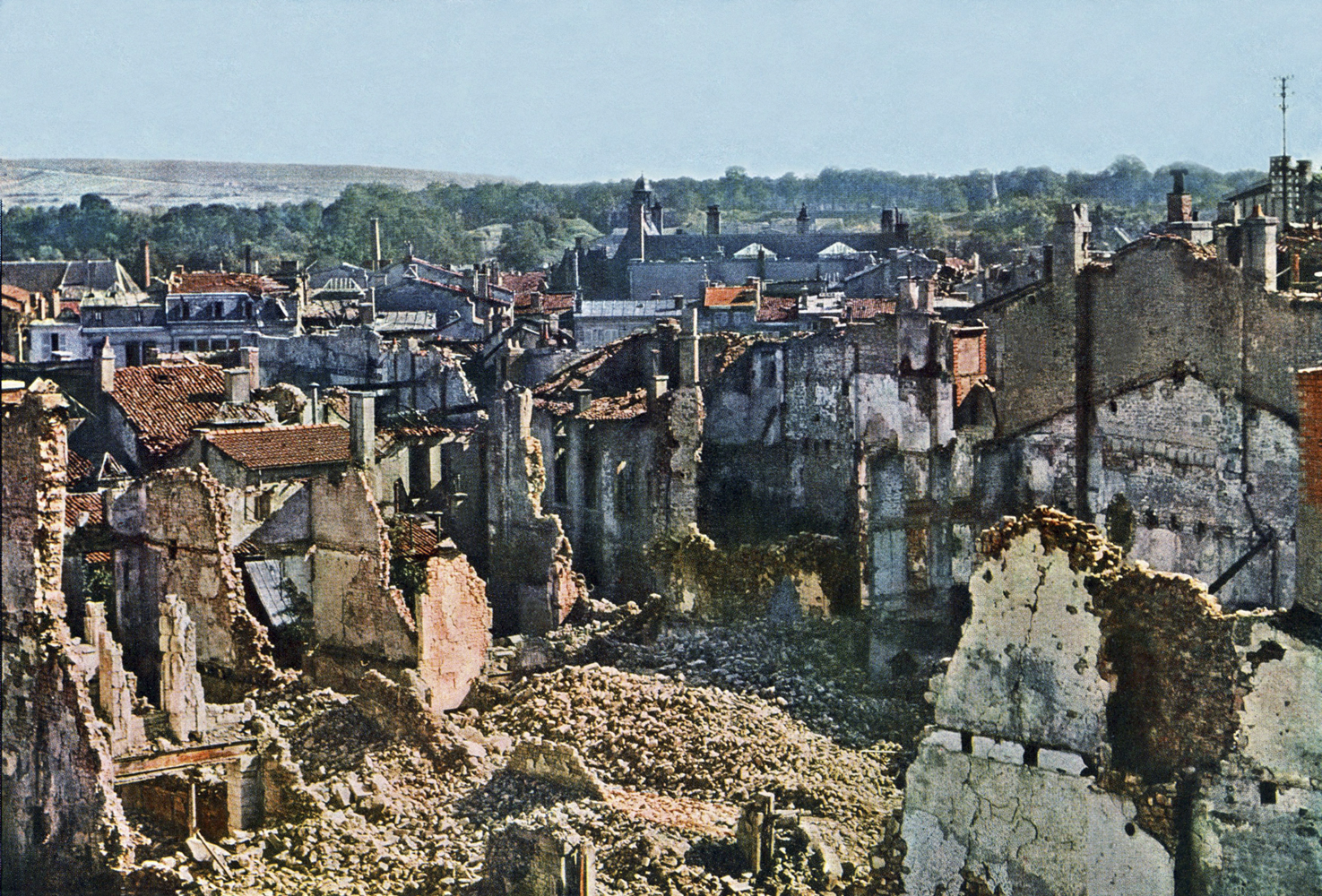 View of Verdun after 8 months of bombing, September 1916.