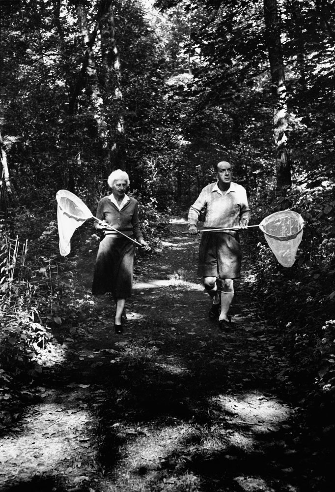 Vladimir Nabokov and his wife Vera chase butterflies near Six Mile Creek,  Ithaca, N.Y., 1958.