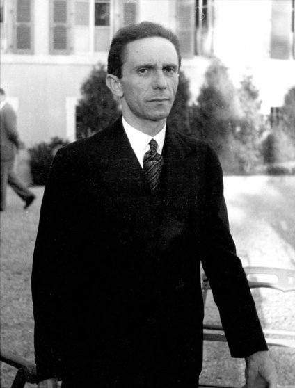 Joseph Goebbels in garden of the Carlton Hotel before delivering a radio broadcast, Geneva, September 1933.