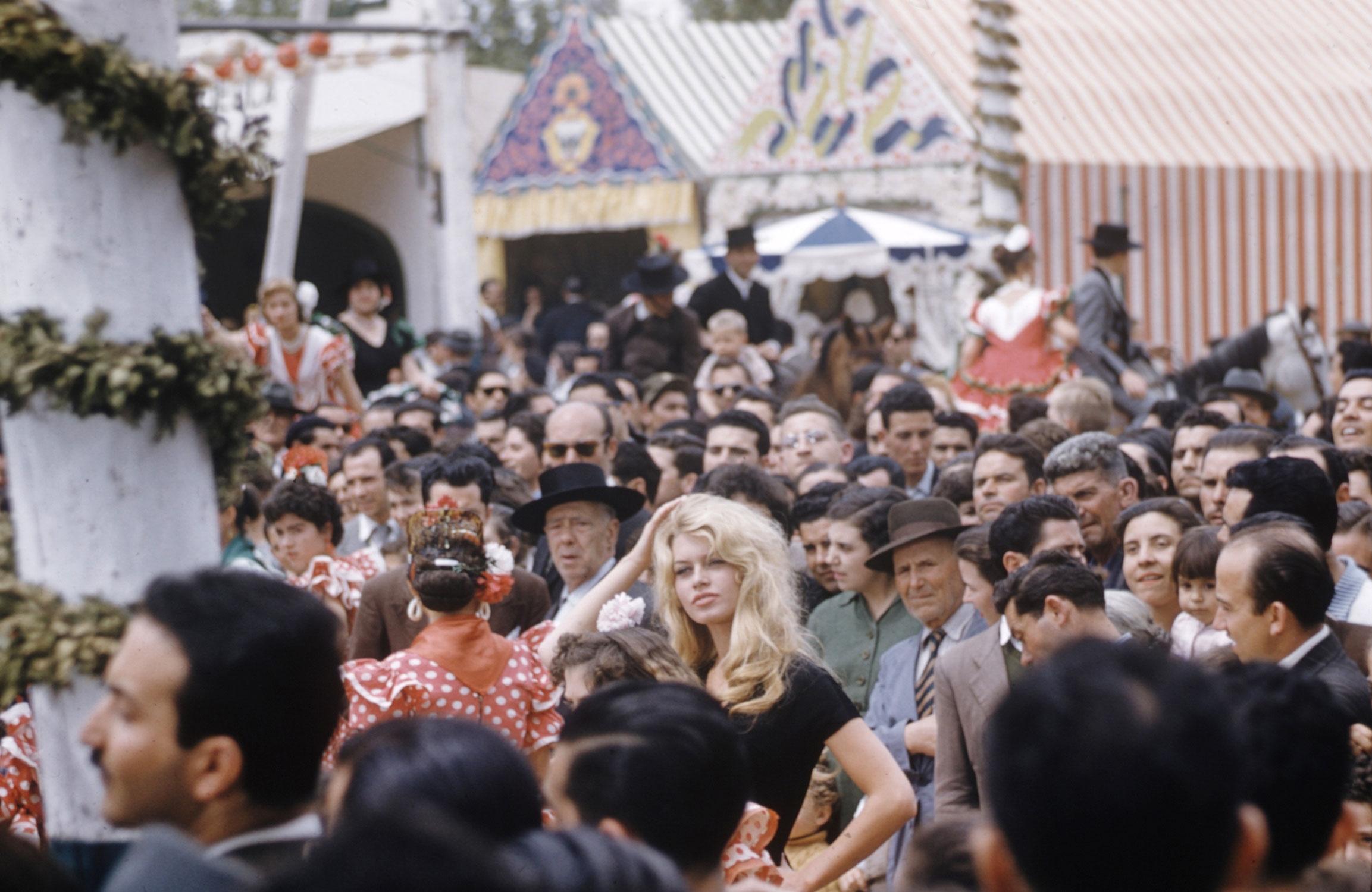 Brigitte Bardot on location in Spain in 1958.