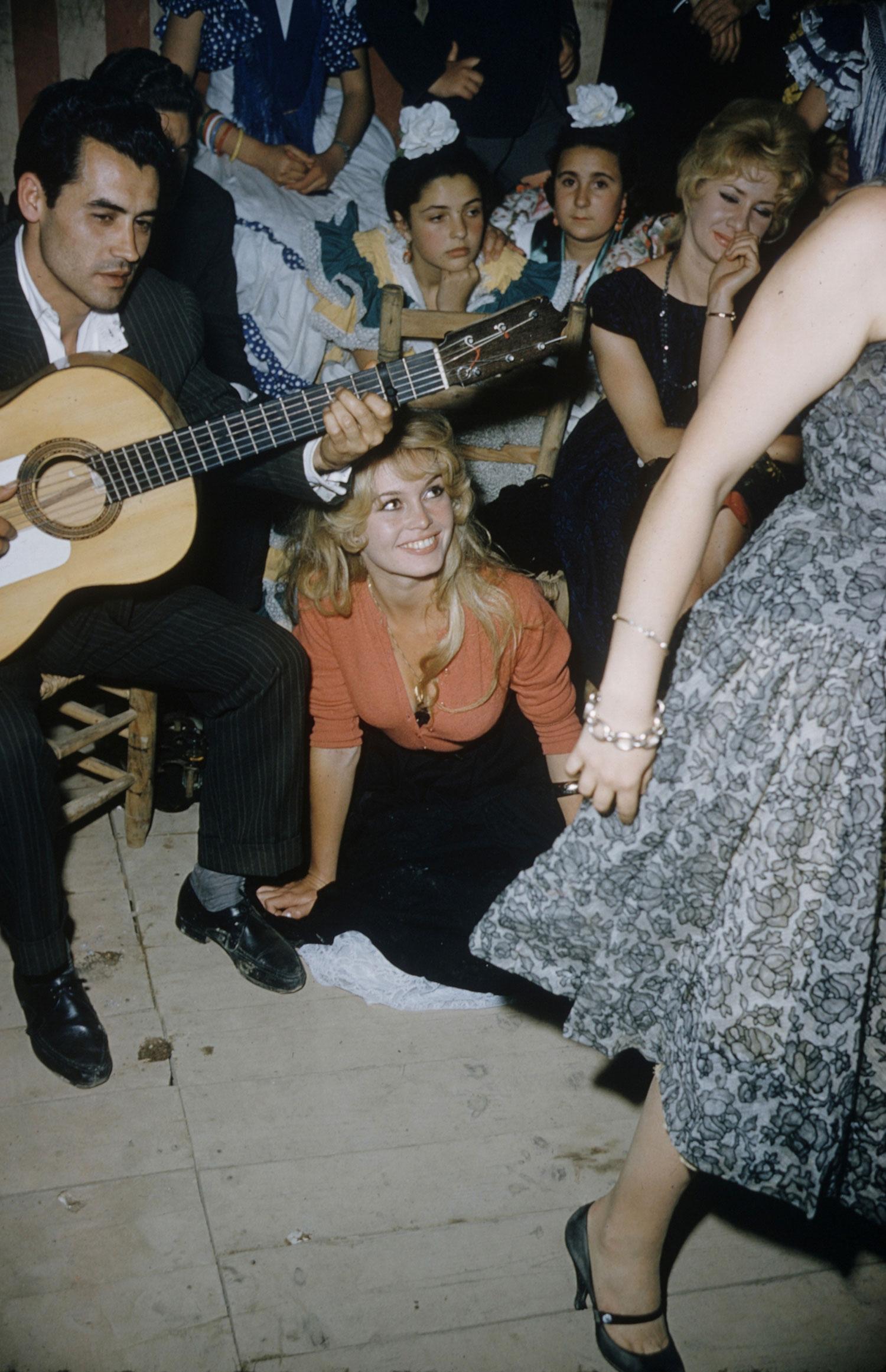 Brigitte Bardot on location for the film, <i>La Femme et le Pantin</i>, Spain, 1958.