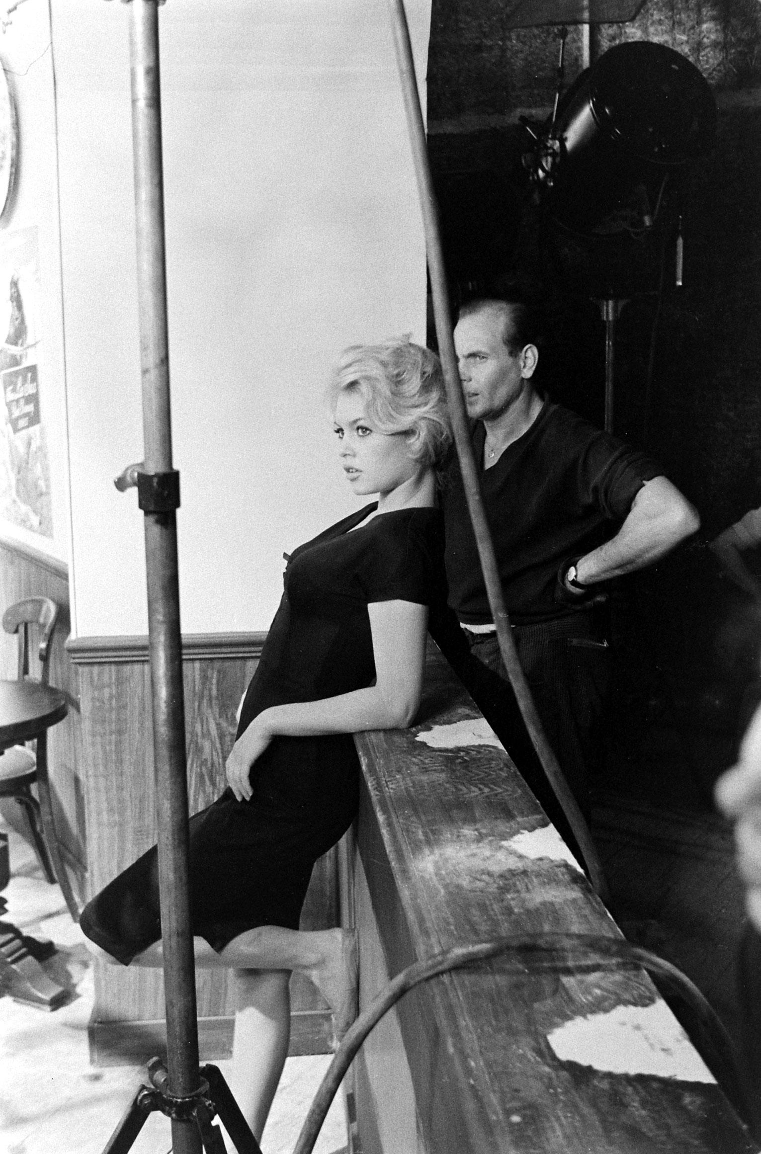 Brigitte Bardot photographed between takes on the set of the film, <i>La Femme et le Pantin</i>, Spain, 1958.