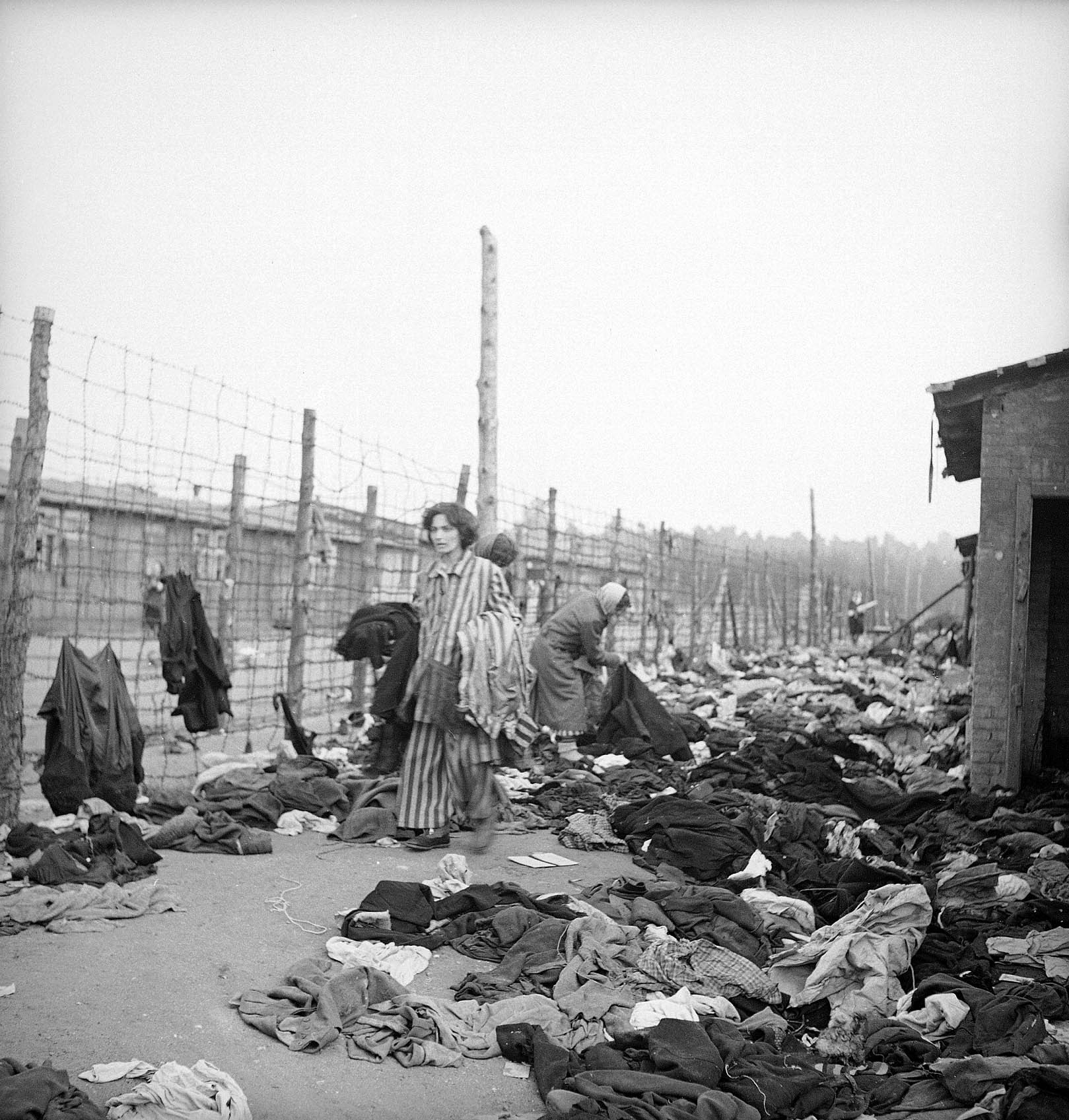 Prisoners at the newly liberated Bergen-Belsen concentration camp, 1945.