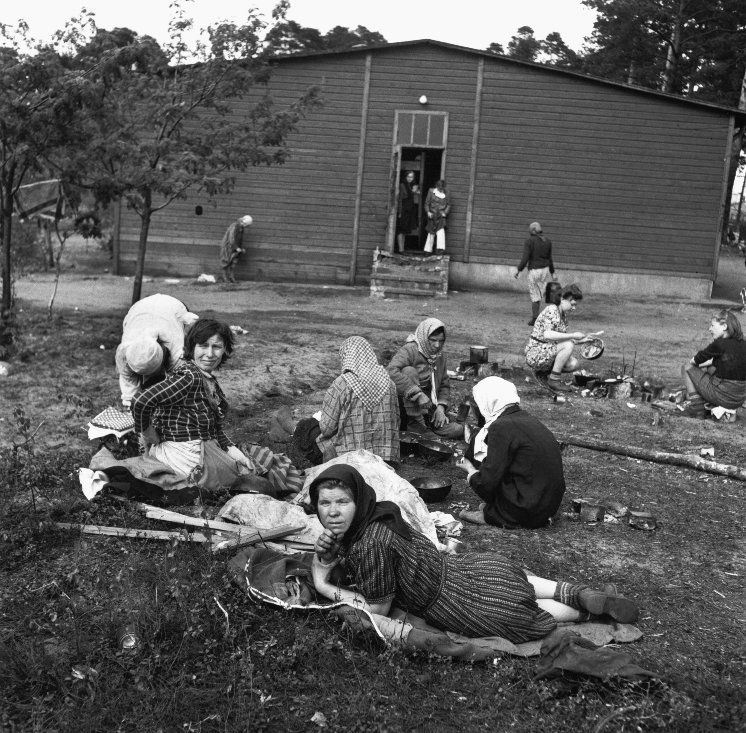 A group of women at the liberated Bergen-Belsen concentration camp in Lower Saxony during World War II, 1945.