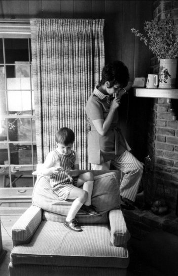 Marilyn Lovell, wife of astronaut Jim Lovell, and son Jeffrey at home during the Apollo 13 crisis, April 1970.