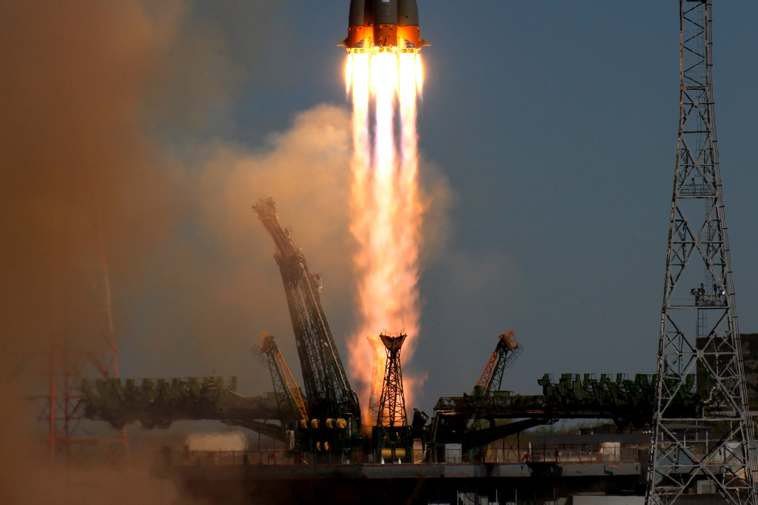 April 19, 2013. A Soyuz-2.1b carrier rocket, carrying a Bion-M satellite blasts off from a launch pad in the Russian leased Kazakhstan's Baikonur cosmodrome. Bion-M, part of the Russia's space program, is to conduct fundamental and applied research in space biology, physiology and biotechnology while in orbit, RIA-Novosti news agency reported.