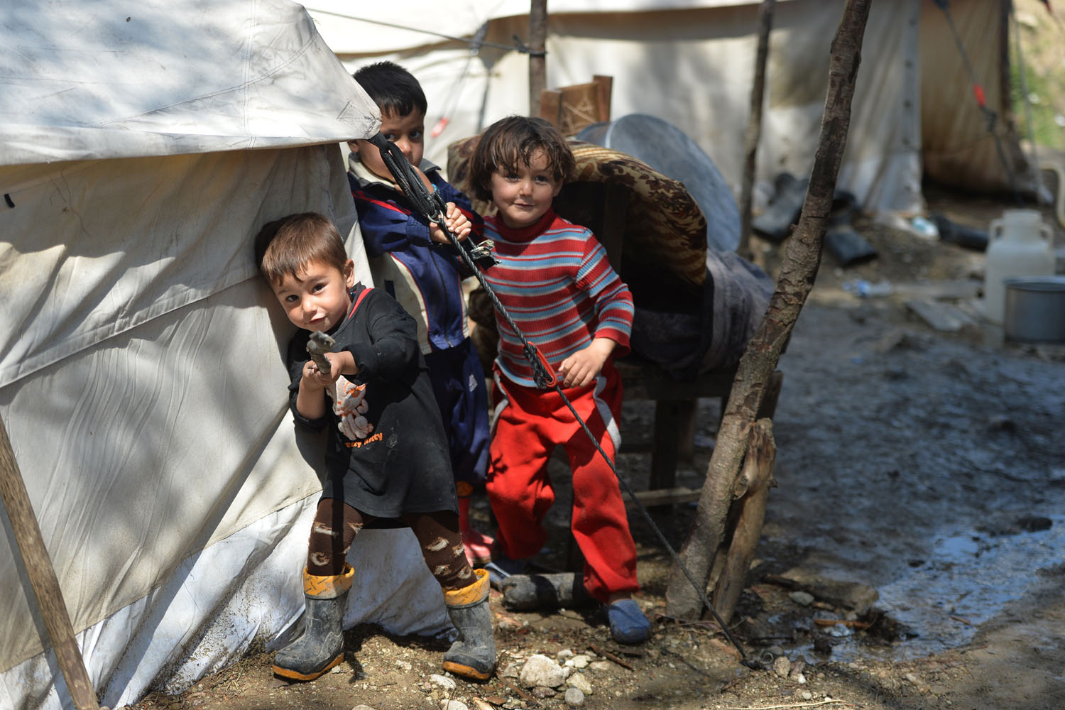 April 23, 2013. Syrian Turkmen children are seen at a make-shift refugee camp some kilometers away from the Syria-Turkey border.