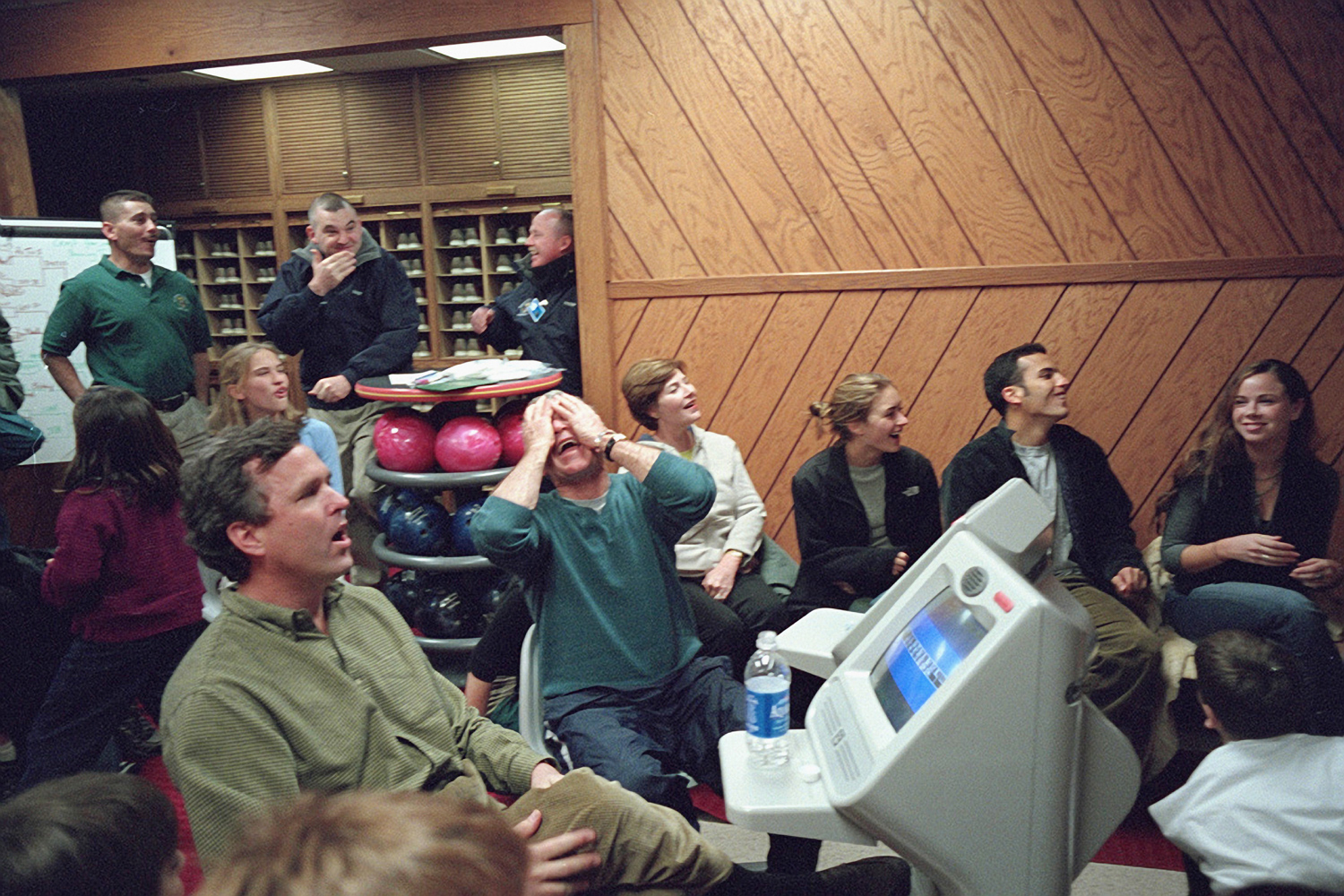 Dec. 25, 2001. President Bush reacts as he joins family members in a Christmas Day bowling tournament at Camp David.