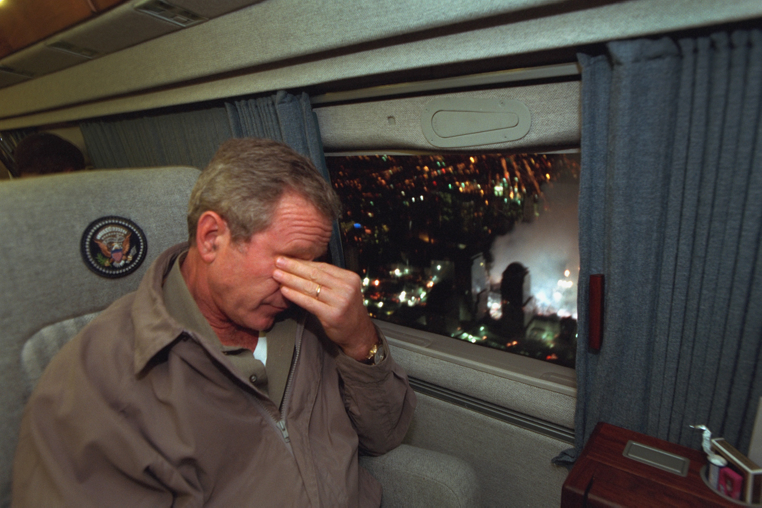 Sept. 14, 2001. With smoke still billowing from the World Trade Center disaster site, President Bush departs New York City en route to Washington.