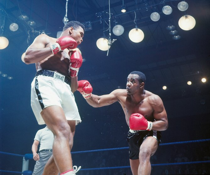 Muhammad Ali (left) and Sonny Liston, Lewiston, Maine, May 25, 1965.