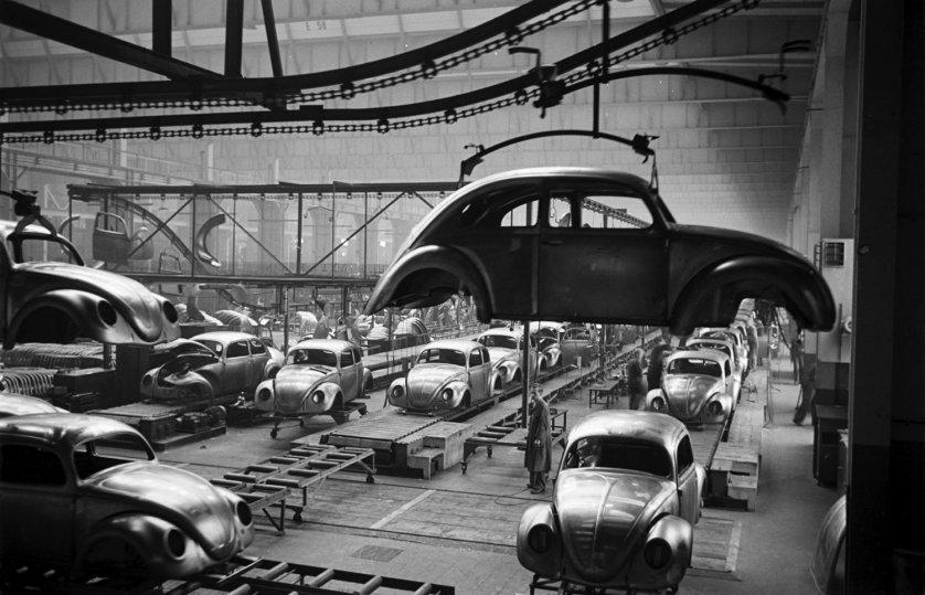 Scene at Volkswagen's main plant, Wolfsburg, Germany, July 1951.