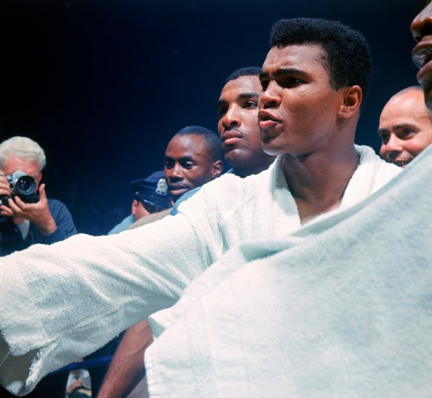 Muhammad Ali gestures before his fight with Sonny Liston, Lewiston, Maine, May 25, 1965.