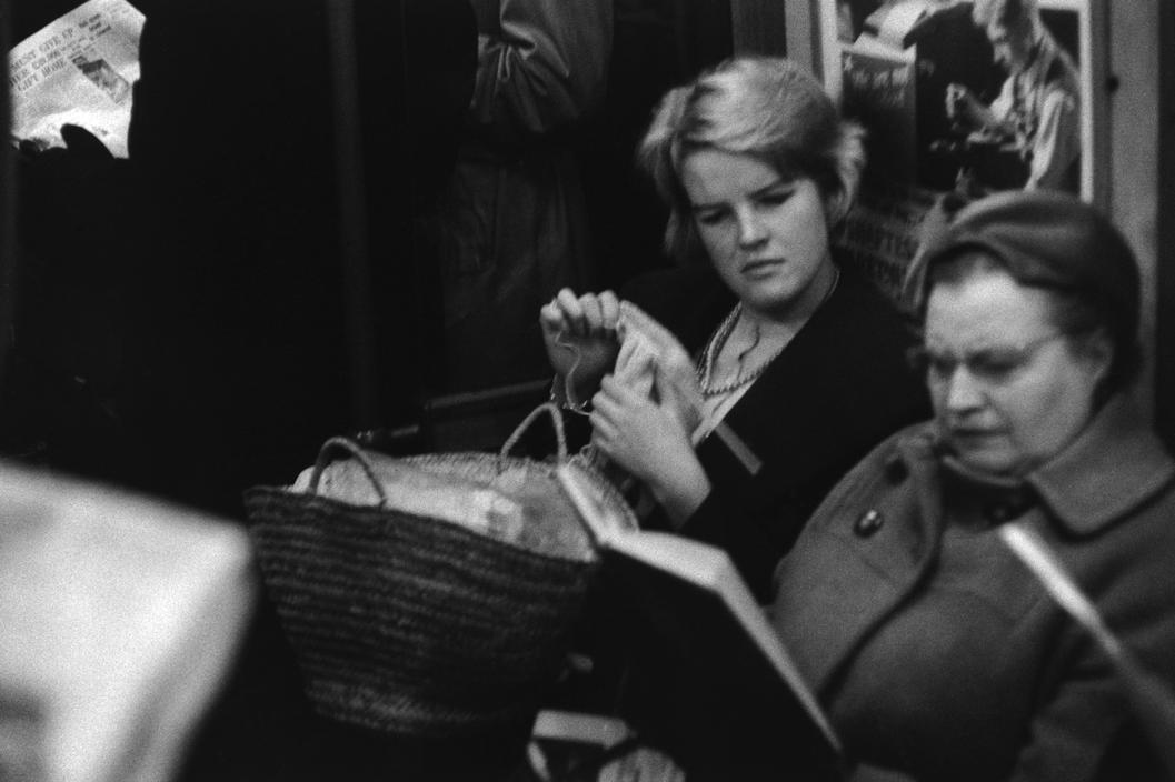 Underground train from Earls Court to Olympia, London, 1959.