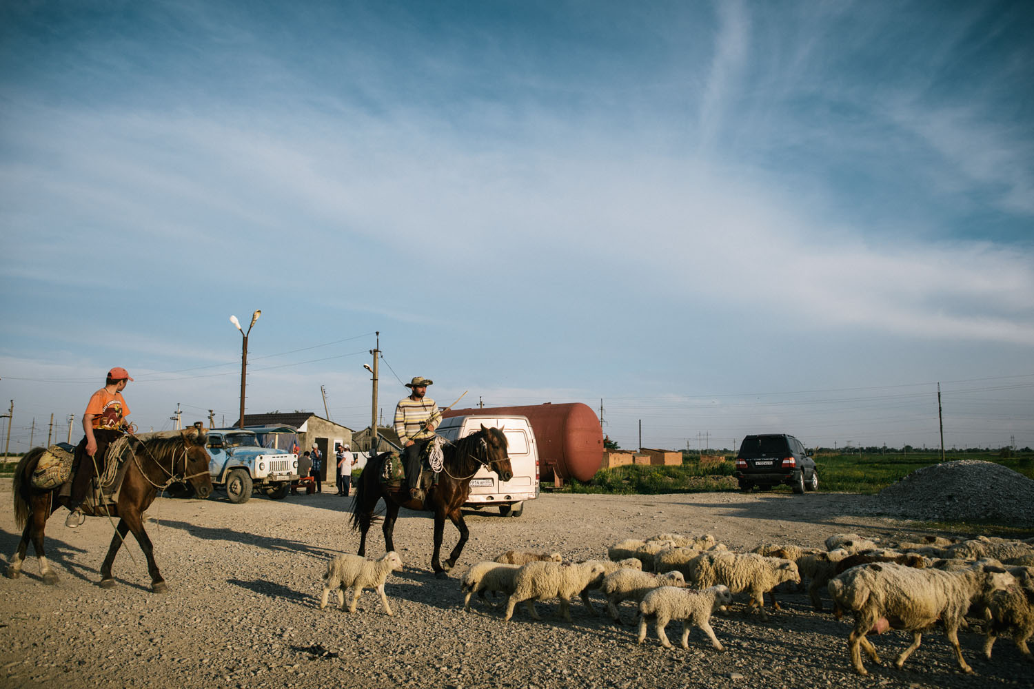 Sheep herders on the road from Kizlyar to Makhachkala.
