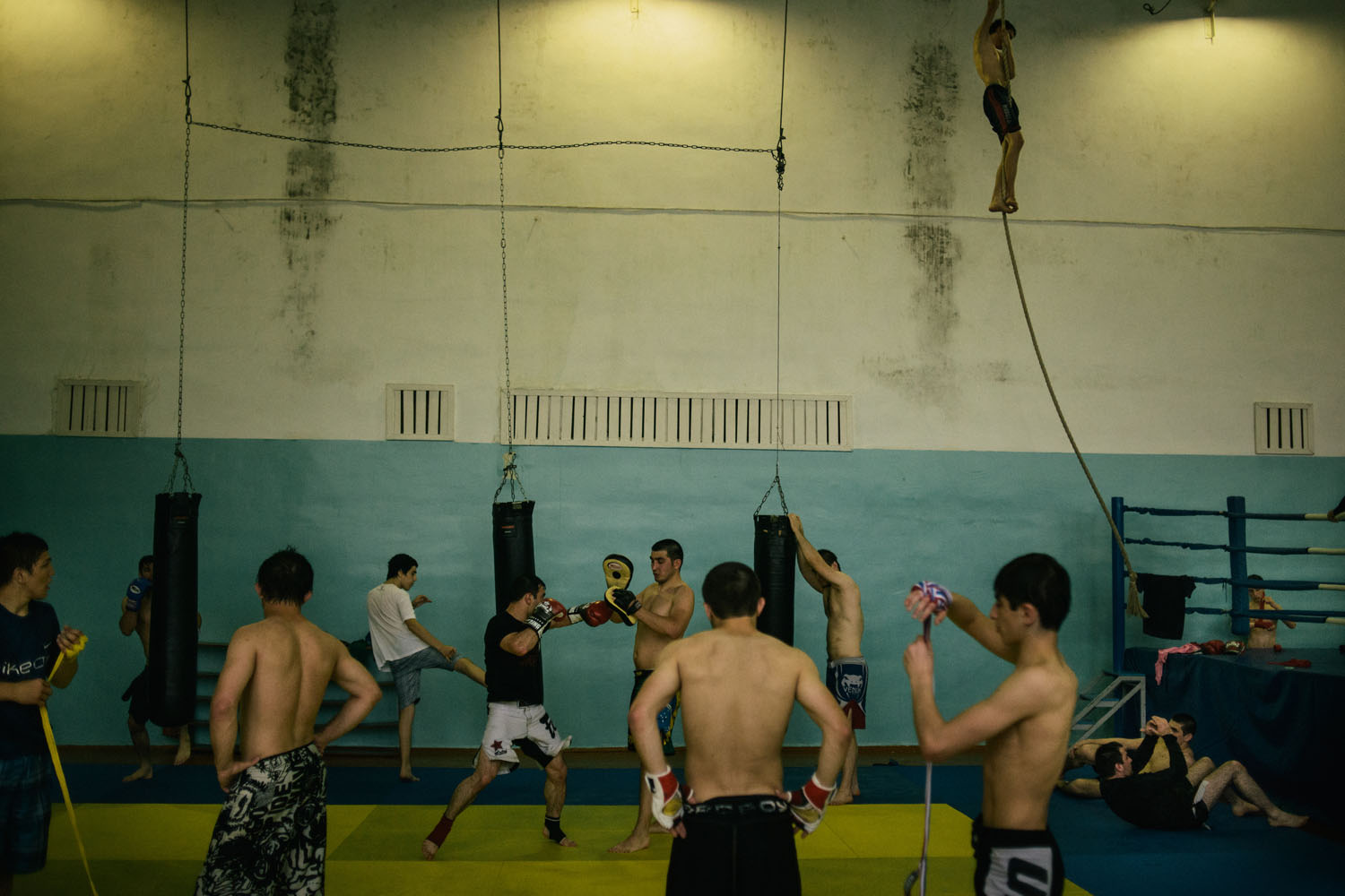 Youth train in one of the boxing and wrestling schools in the regional capital of Makhachkala.
