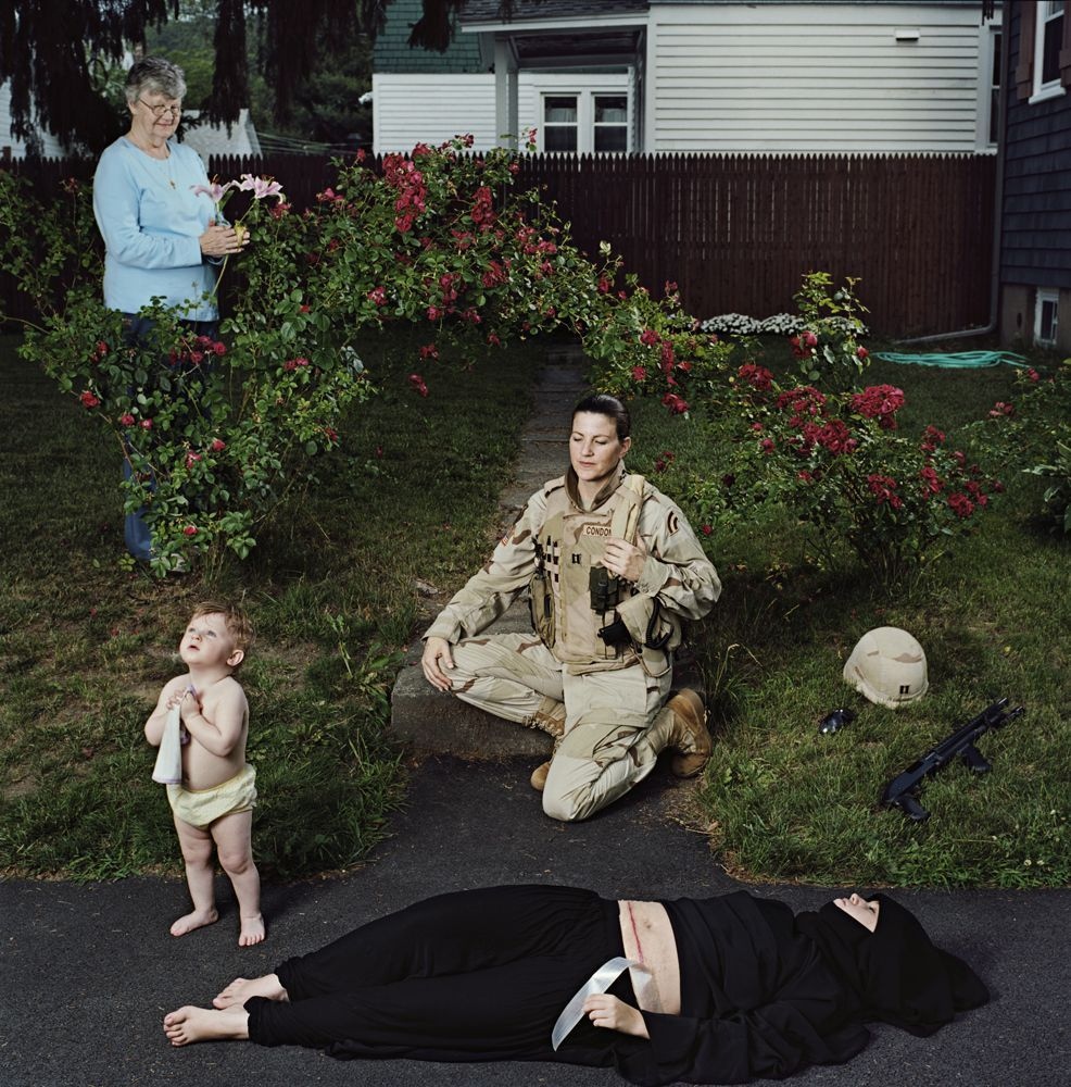 Captain Elizabeth A. Condon, New York Army National Guard, veteran of Operation Iraqi Freedom, with daughter, Kate, and mother, Elizabeth; Troy, NY, from the series, Soldiers' Stories from Iraq and Afghanistan, 2008.