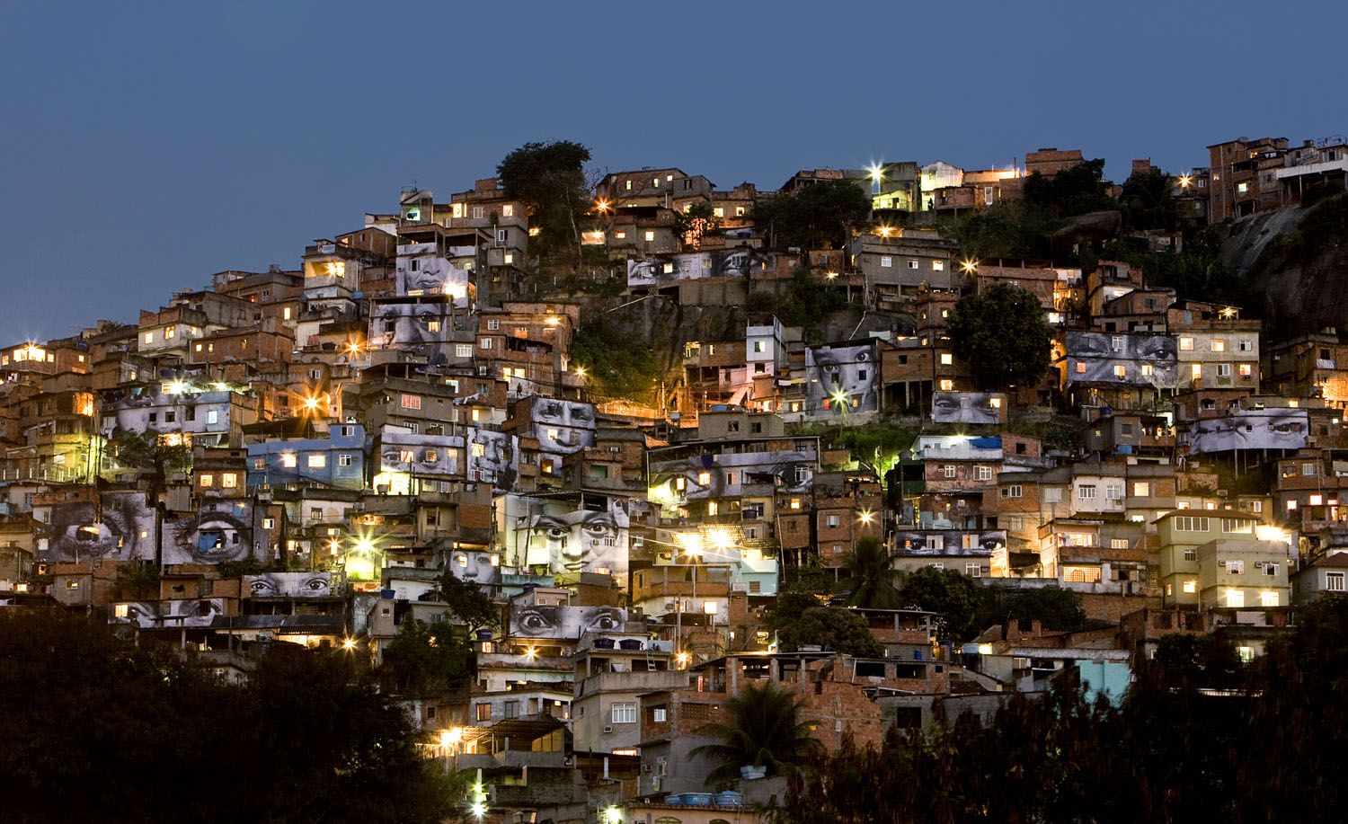 General view at night: Favela Morro Da Providencia; Rio de Janeiro, Brazil, from the series, Women Are Heroes, August, 2008.