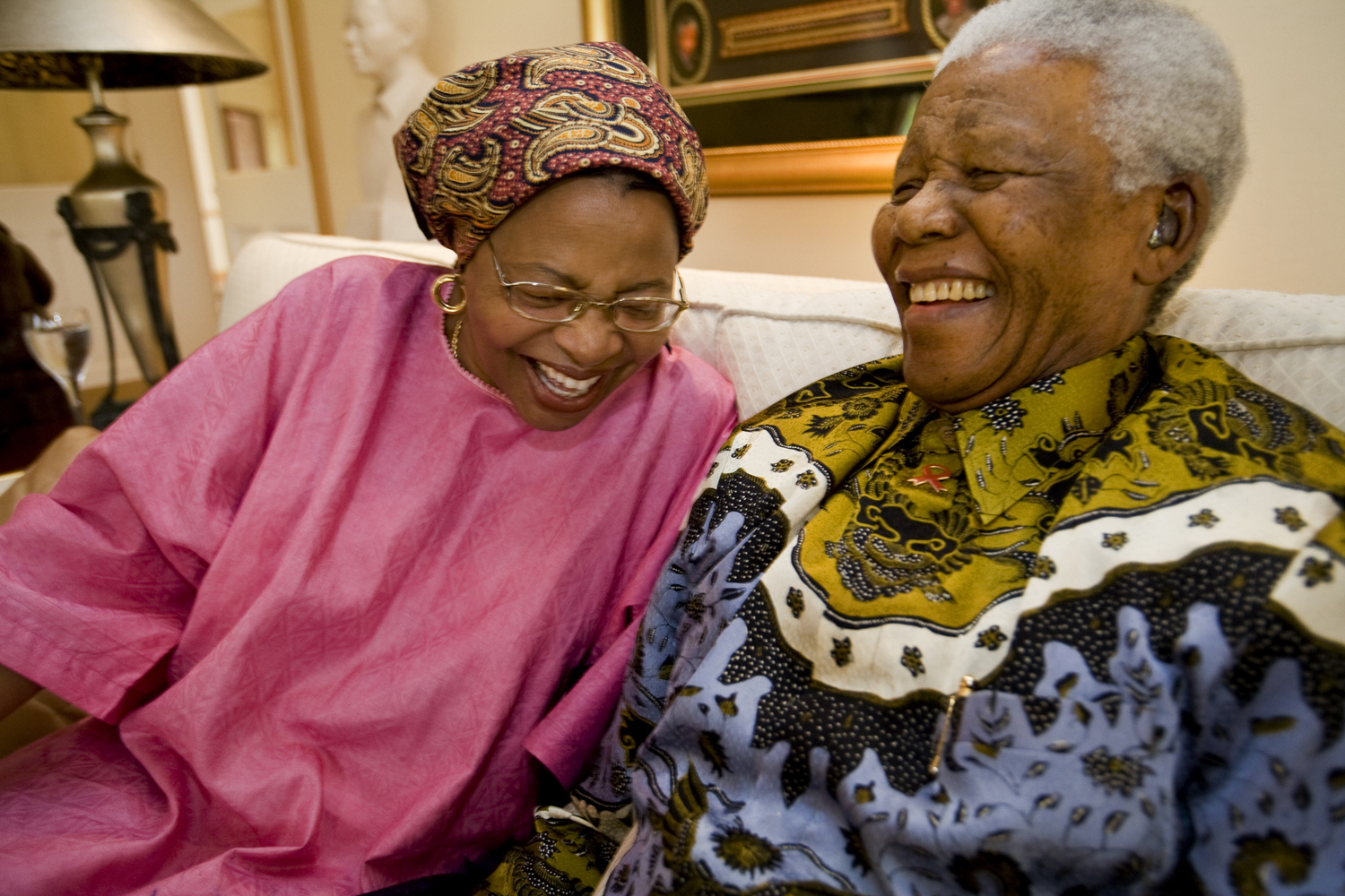Mandela sits with his new wife, Graca Machel, in their home outside Qunu, in the Transkei where Mandela was raised. 2007.