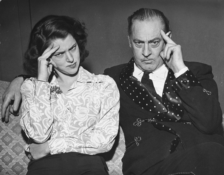 John Barrymore and daughter Diana, 1942.