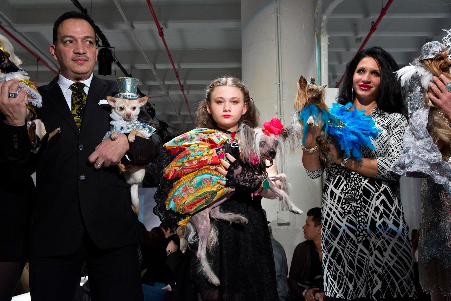 The following photographs were taken Feb. through June 2013.From left to right: Kimba, a Chihuahua, companion to Anthony Rubio; Nora, a Chinese Crested, companion to Robin Schwartz (shown here with Amelia Forman, Schwartz's daughter); and Rosie, a Yorkie, companion to Grace Forster (shown here with Ashley Speranza) backstage after showing Bandit Rubio designs at the first ever pet fashion show at Brooklyn Fashion Week.