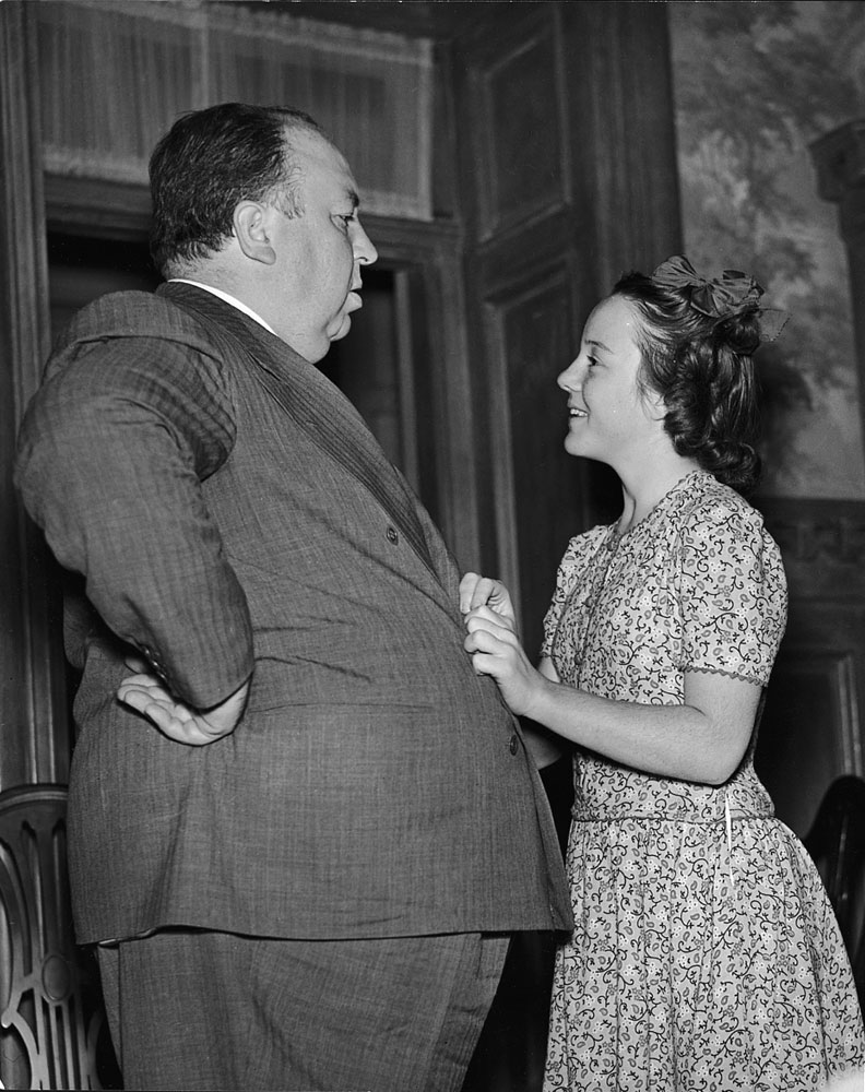 Alfred Hitchcock and daughter Patricia, 1942.