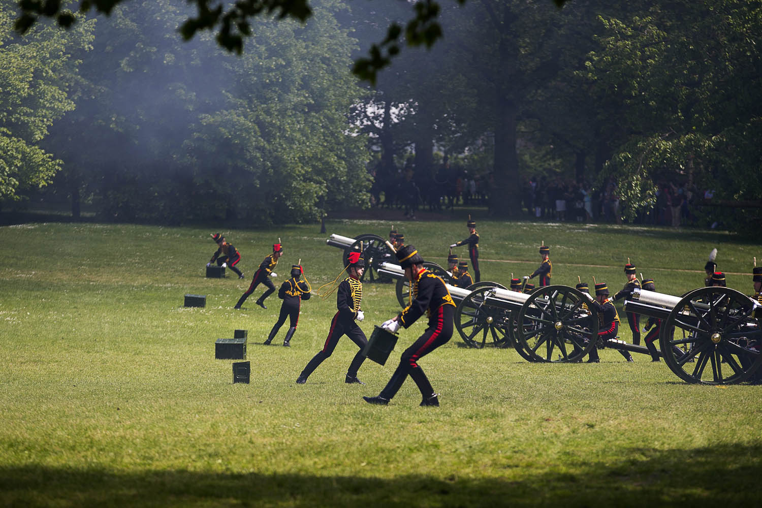June 3, 2013. Soldiers from The King's Troop seen during a Royal Gun Salute at Green Park to commemorate the coronation of Britain's Queen Elizabeth II in London.