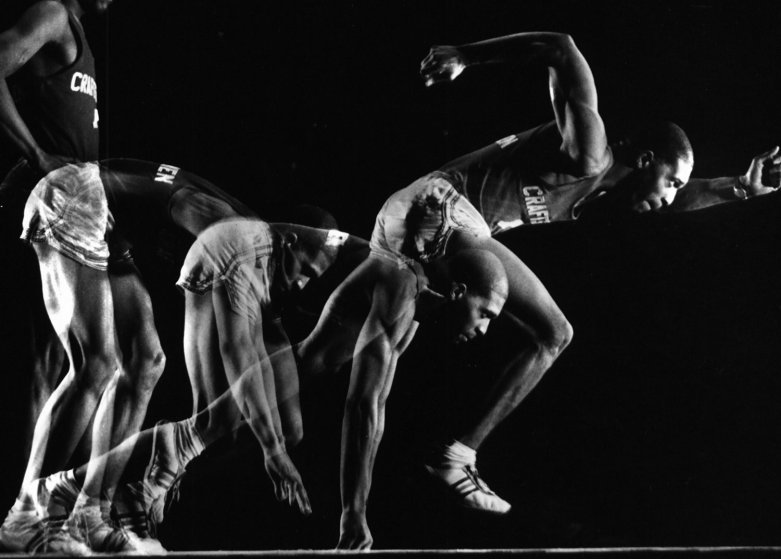 Multiple exposure image of a runner, part of a photographic study of the body's movements, 1962.