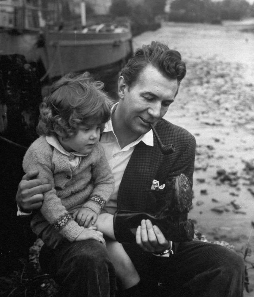 Michael Redgrave and daughter Lynn, 1946.