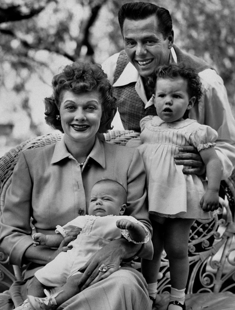 Desi Arnaz with daughter Lucie, Lucille Ball and Desi Arnaz Jr., 1953.