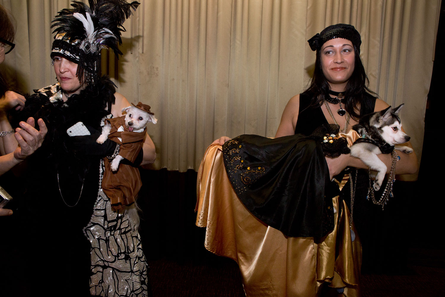 Tash De La Hoz and her Alaskan Klee Kai, Karma, at the Roaring Twenties Pet Fashion Show presented by Tropiclean and hosted by The Hotel Pennsylvania.