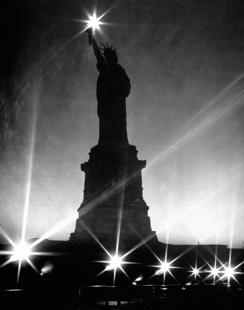 Statue of Liberty seen during World War II, 1942.