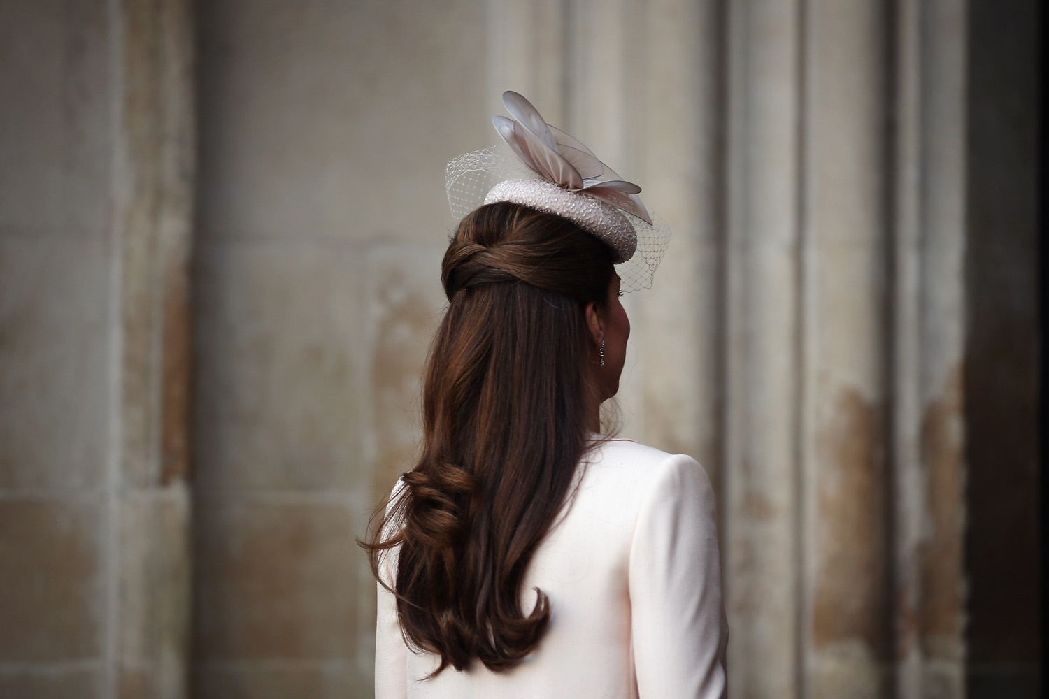 June 4, 2013. Catherine, Duchess of Cambridge (Hat, hair detail) arrives for a service of celebration to mark the 60th anniversary of the Coronation Queen Elizabeth II at Westminster Abbey in London.